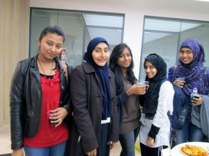 Make friends - Masaad (centre left) and Dhanal (centre right) socialising with their new friends in the INTO centre.