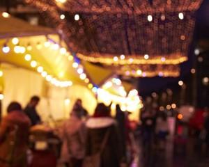 Blurry lights winter market
