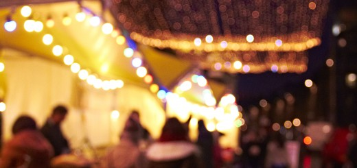 Blurry lights winter market