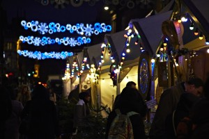 Lights and market stalls