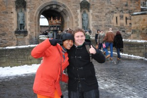 GCU - Victor with female friends outside Edinburgh Castle