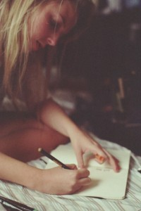 Girl writing letter