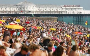 Brighton beach with pier