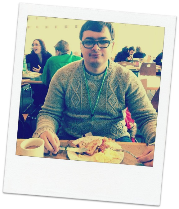 Anton eating breakfast on the first day of study in the US
