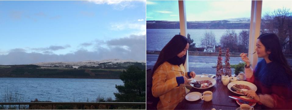 Breakfast over looking Loch Ness