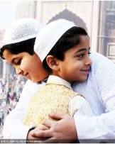 Brothers hugging at Eid