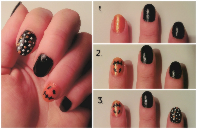 Pumpkin and spotty nail art
