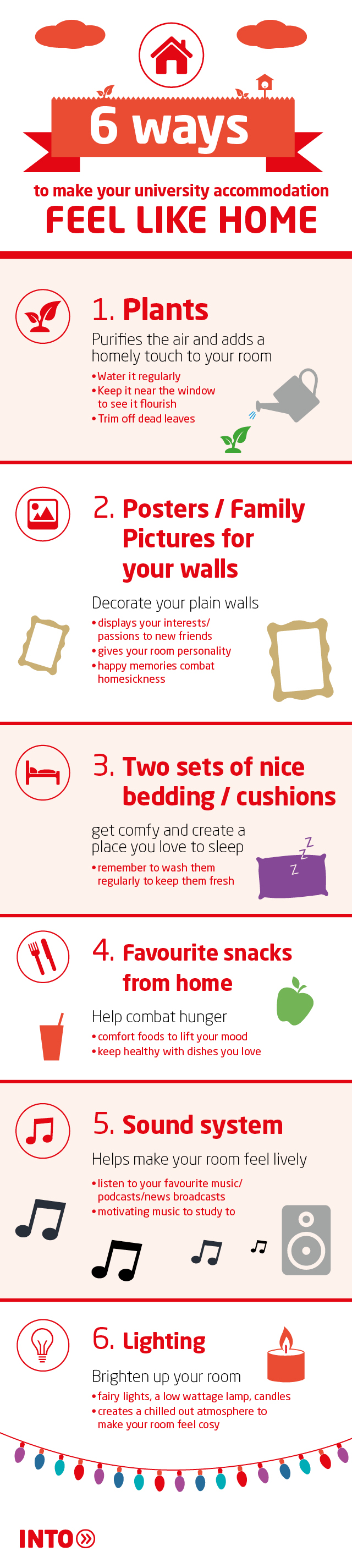 Top tips infographic for personalising your university accommodation