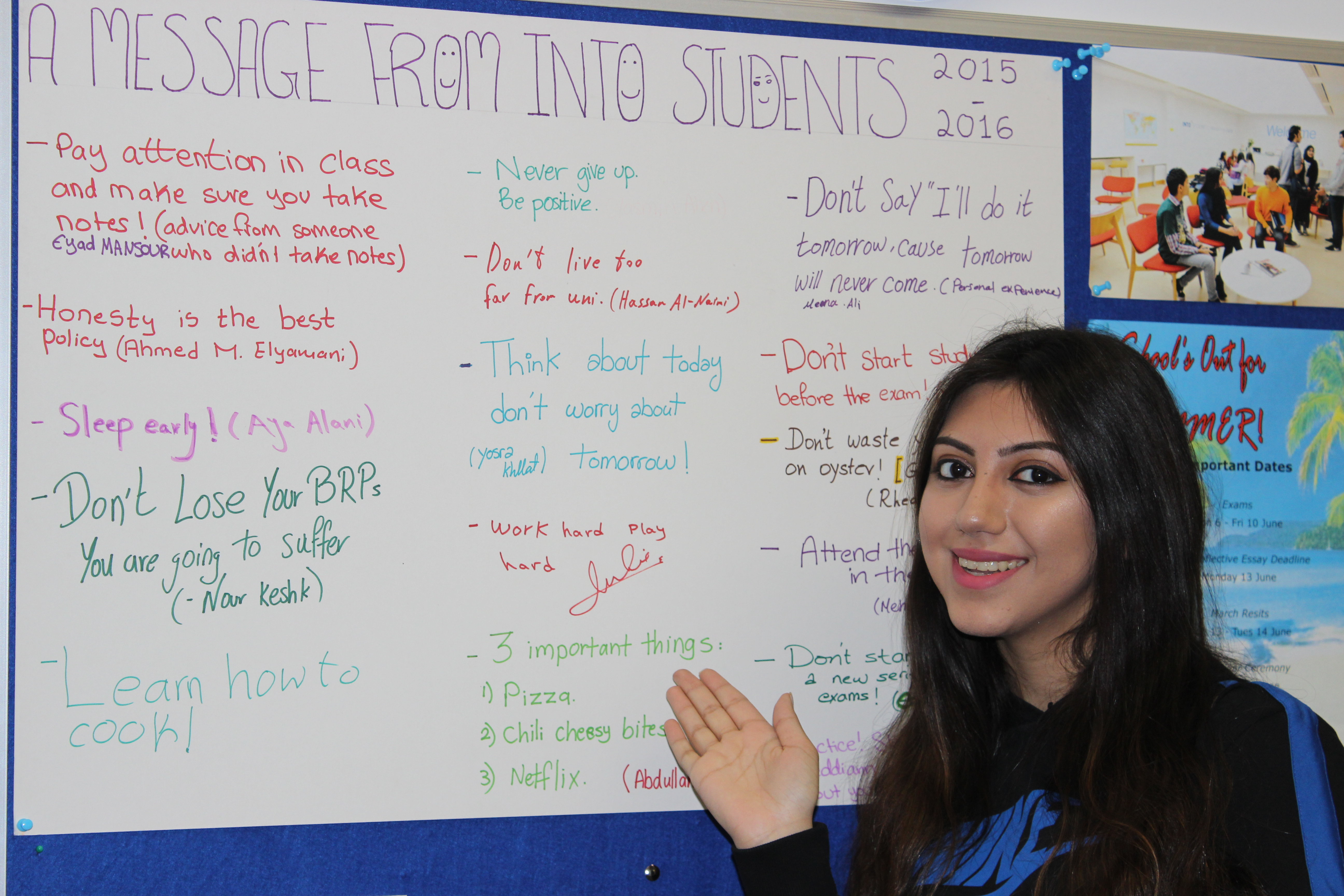 International Foundation students message board