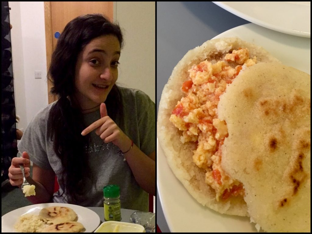 Natali cooking up a special Venezuelan dish for her Newcastle uni friends