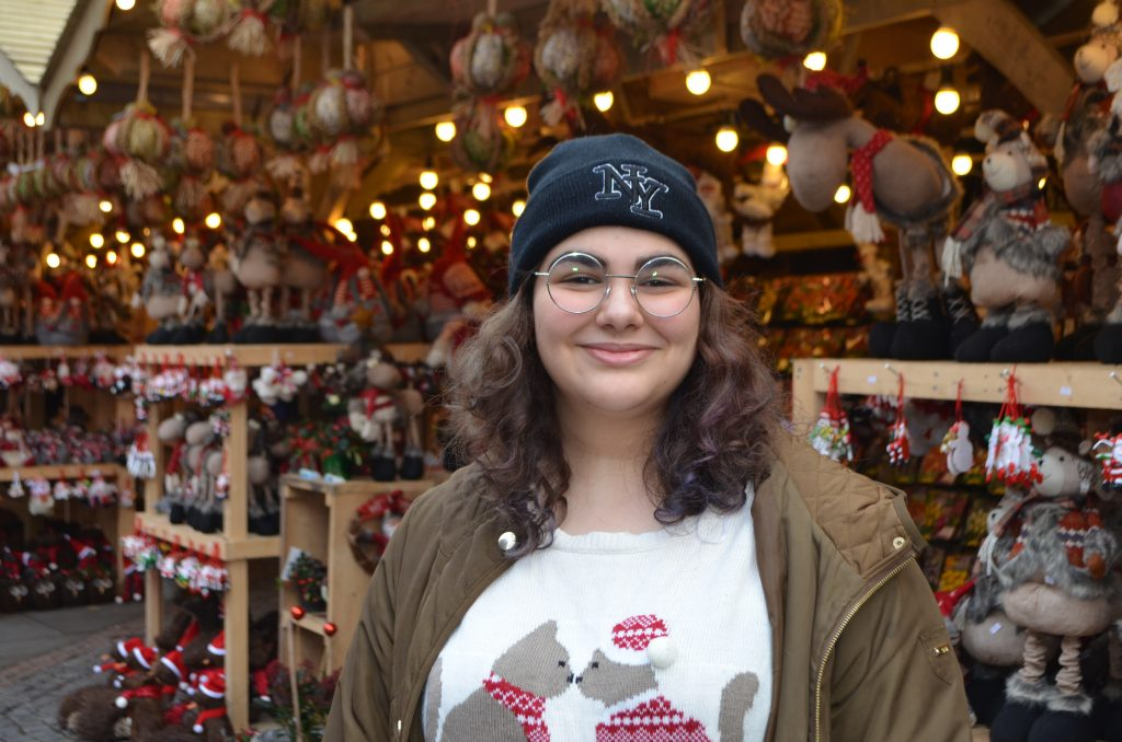 Souaad at the Christmas Markets in Manchester