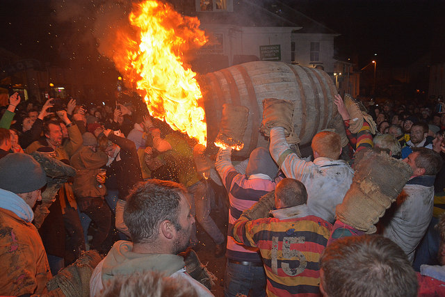 Unique things to do in the UK in November - The Tar Barrels on Bonfire Night in November
