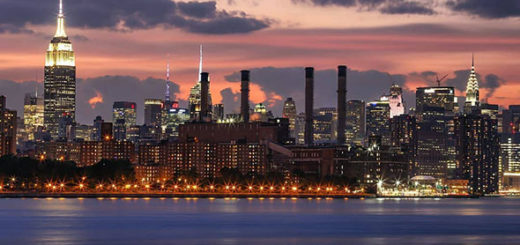 View of the New York City skyline at sunset