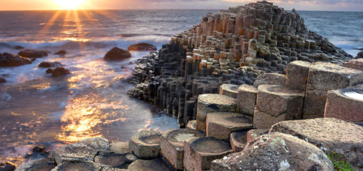 Sunset at Giant s Causeway in North Antrim, Northern Ireland