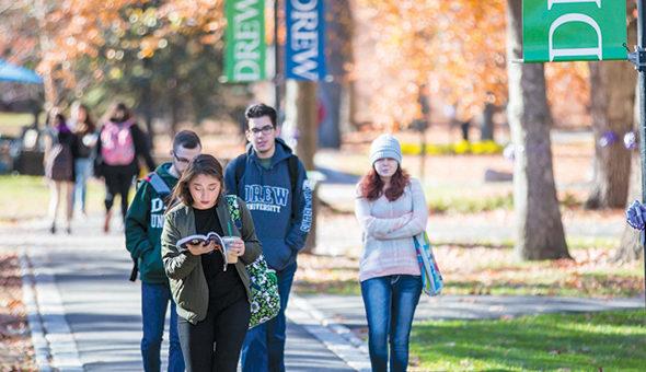 Drew students walking through campus